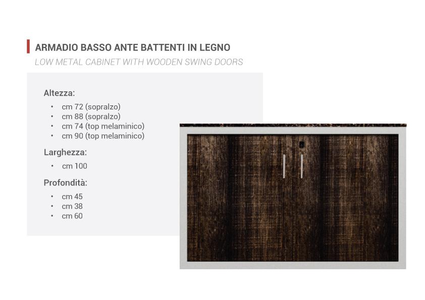Armadio basso ante battenti in legno metallica gransasso